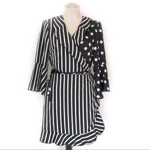 Black White Stripe & Polka Dot Wrap Dress Size 12